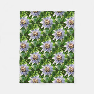 Passiflora Against Green Foliage In A Garden Fleece Blanket