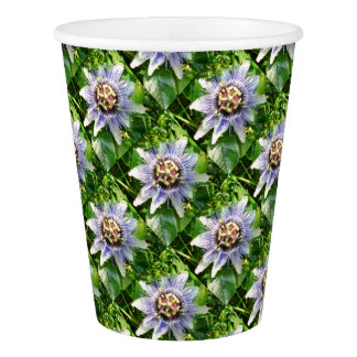 Passiflora Against Green Foliage In A Garden Paper Cup