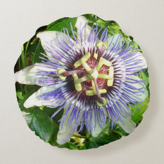 Passiflora Against Green Foliage In A Garden Round Pillow