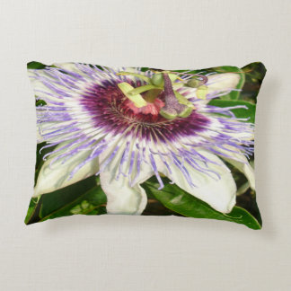Passiflora Close Up With Garden Background Decorative Pillow