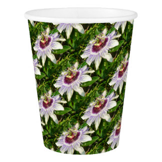 Passiflora Close Up With Garden Background Paper Cup