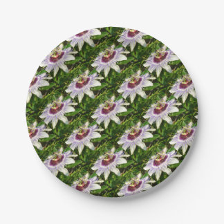 Passiflora Close Up With Garden Background Paper Plate