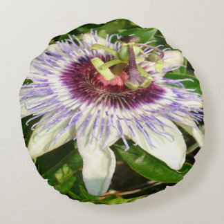 Passiflora Close Up With Garden Background Round Pillow