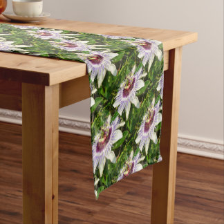 Passiflora Close Up With Garden Background Short Table Runner