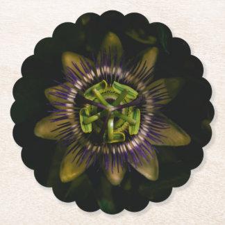 passiflora scalloped round paper coaster