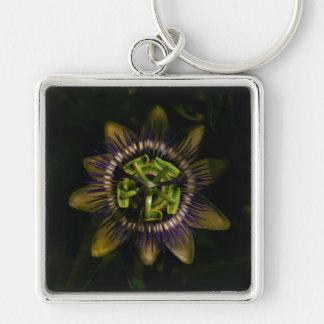 passiflora Silver-Colored square keychain