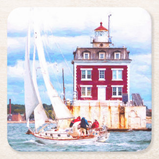 Passing Ledge Light Square Paper Coaster