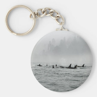 Passing Whales Basic Round Button Keychain