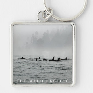 Passing Whales Silver-Colored Square Keychain