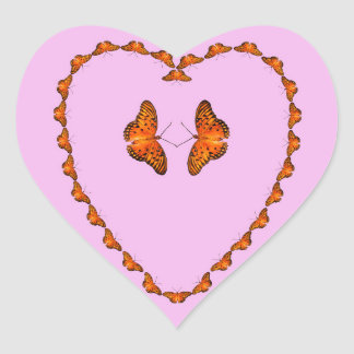 Passion Butterflies in heart, pink. Dance with me Heart Sticker