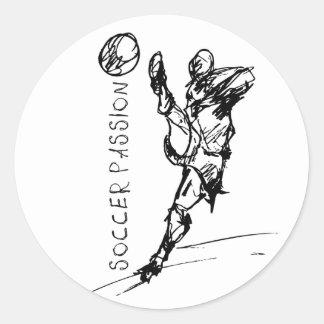 passion du football sticker rond