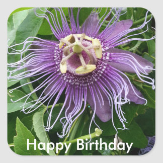 Passion Flower Purple and Green Happy Birthday Stickers