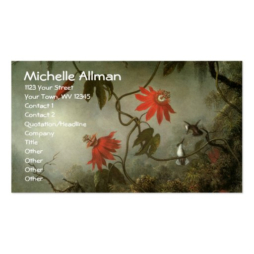 Passion Flowers and Hummingbirds Business Cards Business Card Template