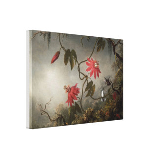 Passion Flowers and Hummingbirds by Martin Heade Canvas Print