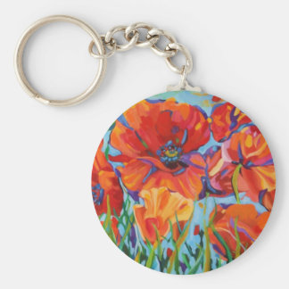 Passion for Poppies Basic Round Button Keychain