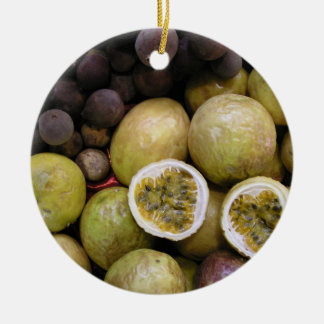Passion fruit and grapes ceramic ornament