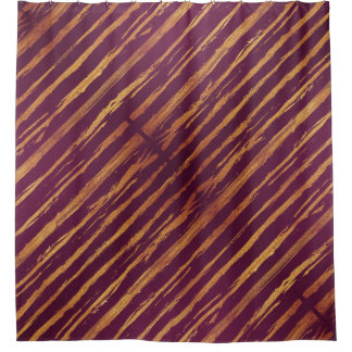 Passion Fuchsia Gold Stripes Shower Curtain