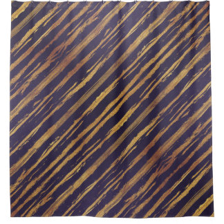 Passion Purple Gold Stripes Shower Curtain