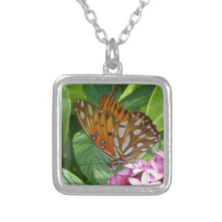 Passion Vine Butterfly Silver Plated Necklace