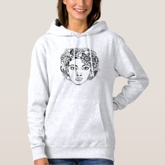 """""""Passion"""" Woman's Face Drawing with Flowers Hoodie"""