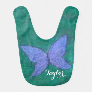 Passionate Baby | Name Purple Blue Butterfly Bib