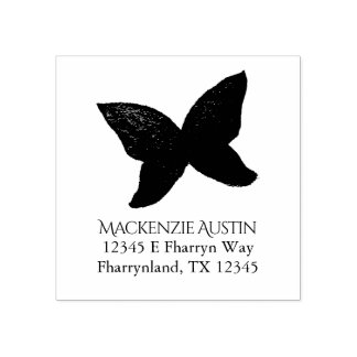 Passionate Desk | Abstract Butterfly Name Address Rubber Stamp