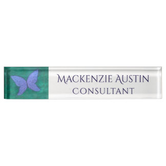 Passionate Desk | Butterfly Wing Purple Blue Green Nameplate