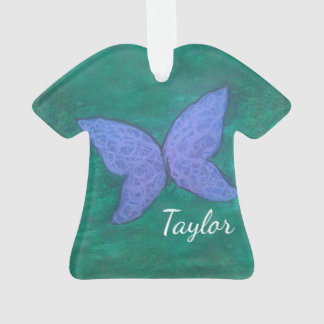 Passionate Holiday   Name Butterfly Purple Green Ornament