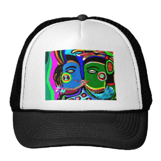 Passionate Kiss - Vintage India Cave Art Style Trucker Hat