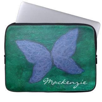 Passionate Tech | Butterfly Purple Blue Wing Green Laptop Sleeve