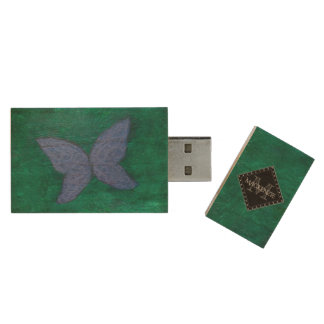 Passionate Tech | Name Purple Blue Butterfly Green Wood USB Flash Drive