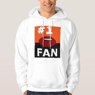 Passioné du football #1 orange et noir sweat à capuche