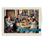 Passover Blessings. Vintage Seder Scene Cards