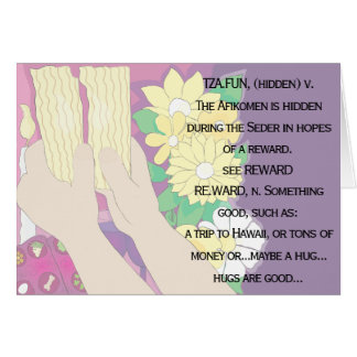 """Passover Greeting Card """"Tsafun means..."""""""