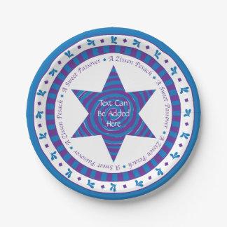 Passover Paper Plate Blue/Purple Pattern
