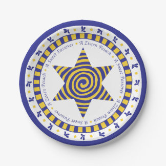 Passover Paper Plate Blue/Yellow Star Pattern 7 Inch Paper Plate
