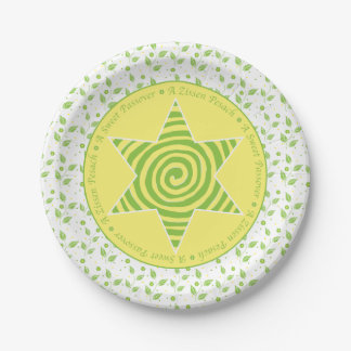 "Passover Paper Plate ""Green/Yellow Leaves Design"" 7 Inch Paper Plate"