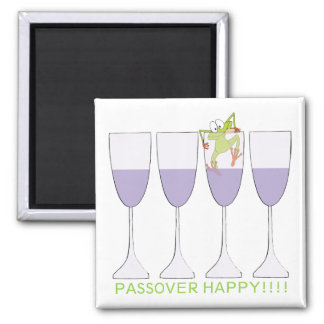 "Passover Square Magnet ""Wine and Frog"""