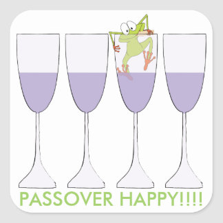 "Passover Sticker Square ""Wine and Frog"""