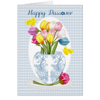 Passover Tulip And Butterfly Greeting Card