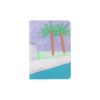 Passport Cover with a Caribbean Village Design