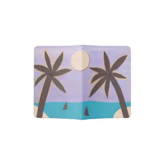 Passport Cover with a Palm and Ocean Scene