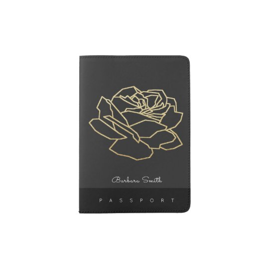 passport cover with name & outlined rose flower