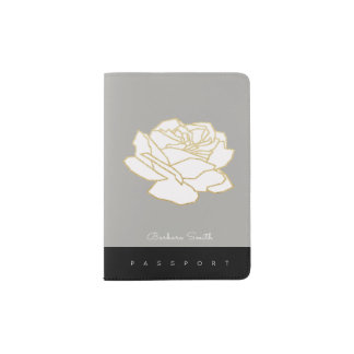 passport cover with name & white rose flower