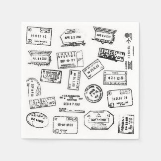 Passport Stamp Napkins Paper Napkins
