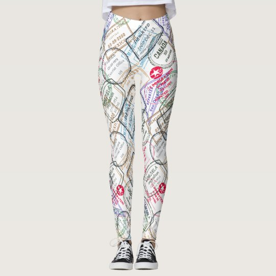 Passport Stamps Travel Leggings
