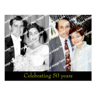 Past and Present Golden Anniversary postcard