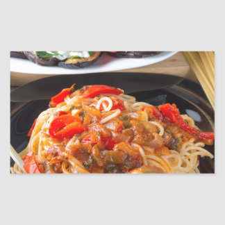 Pasta spaghetti with pieces of bell pepper