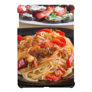 Pasta spaghetti with pieces of bell pepper iPad mini case