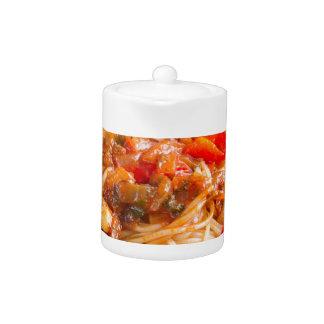 Pasta spaghetti with vegetable sauce